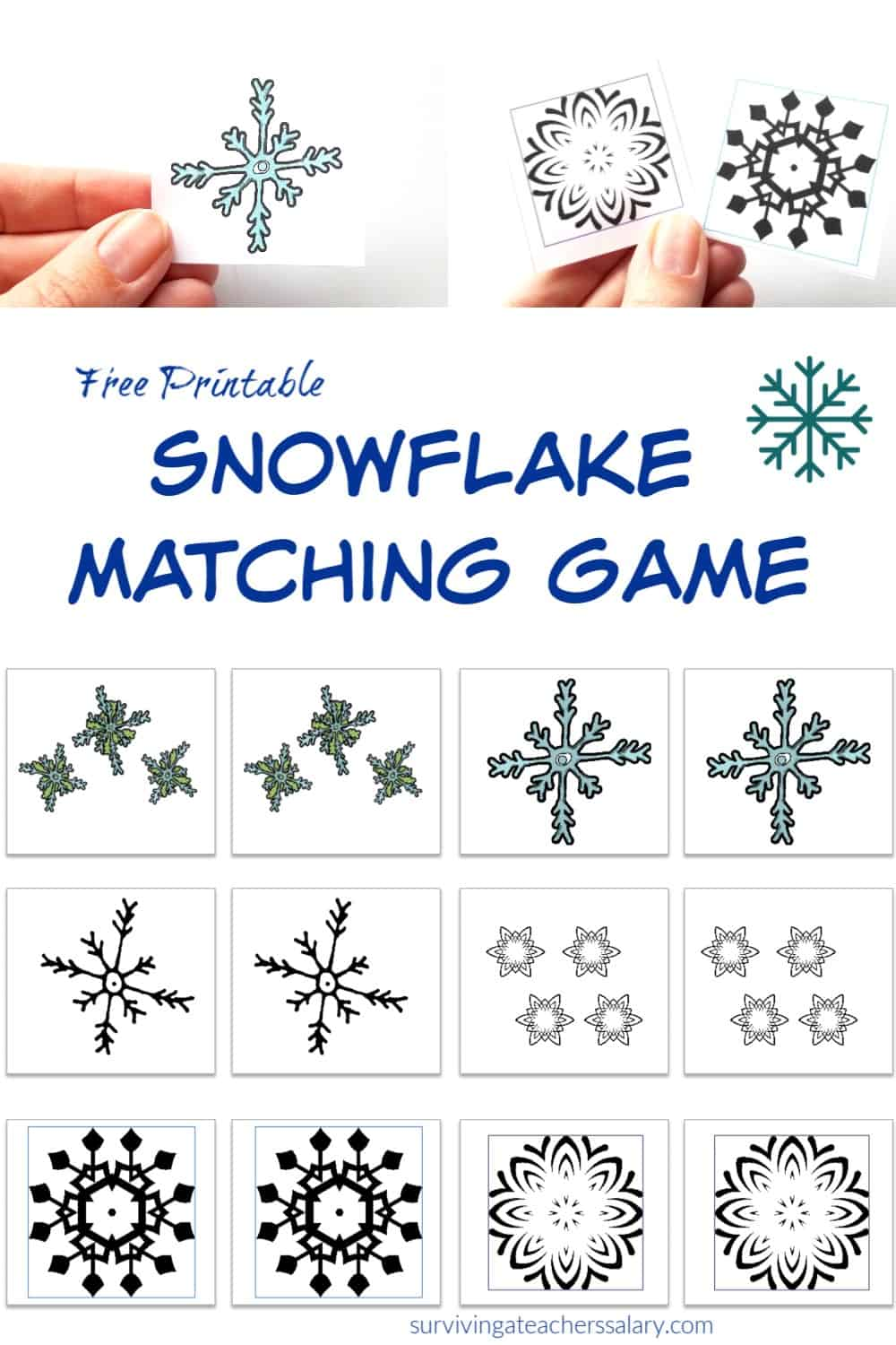 printable snowflake matching game for kids