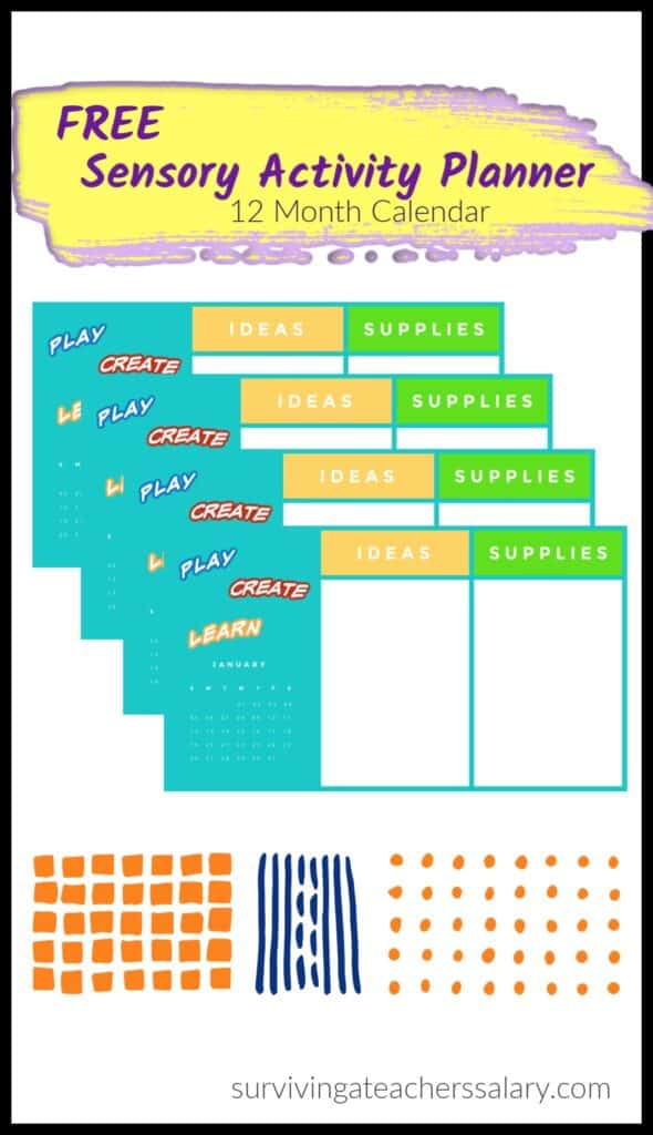 Printable 12 Month Sensory Activity Calendar Planner for Kids