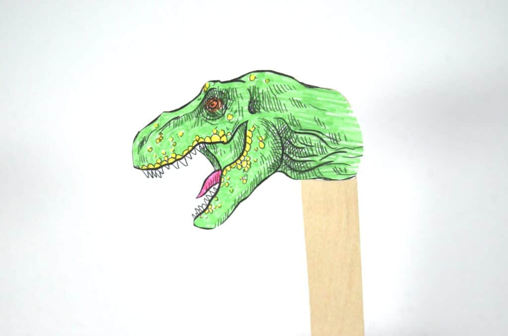 Dinosaur Craft Stick Puppets Imaginative Play Activity for Kids