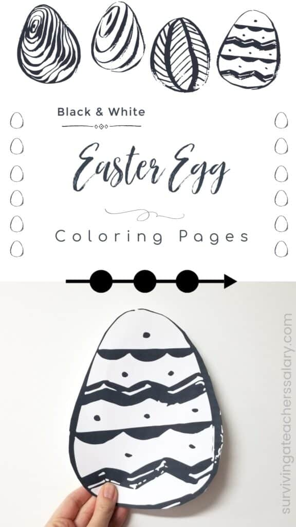 Black and White Easter Egg Coloring Pages