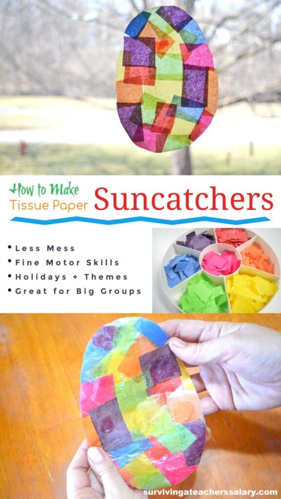 suncatcher tissue paper preschool craft