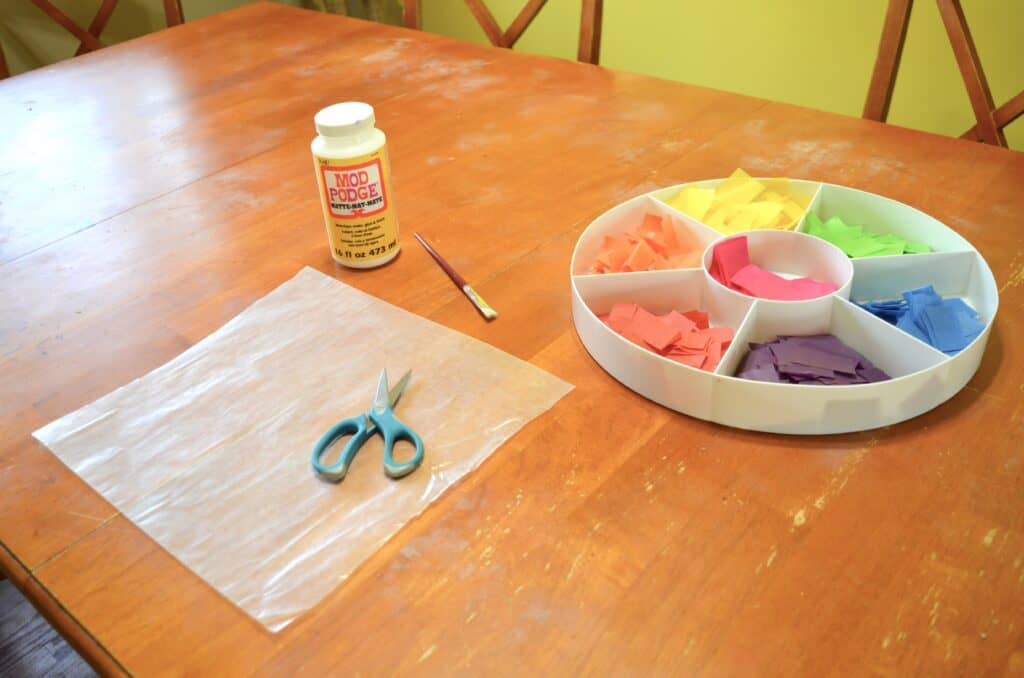 wax paper tissue paper craft on table