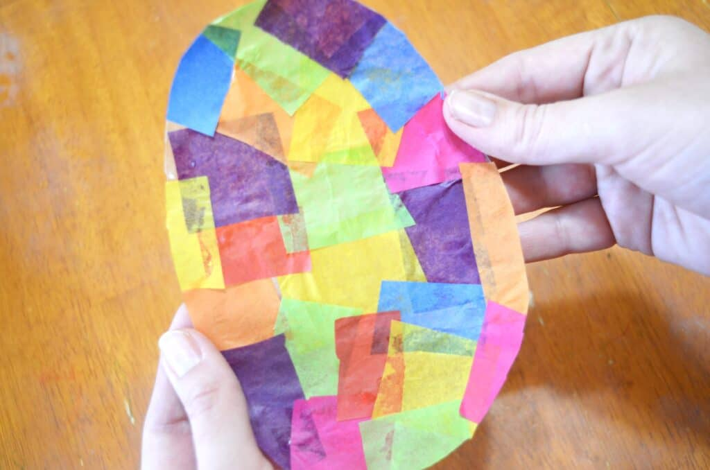 colorful tissue paper craft easter egg