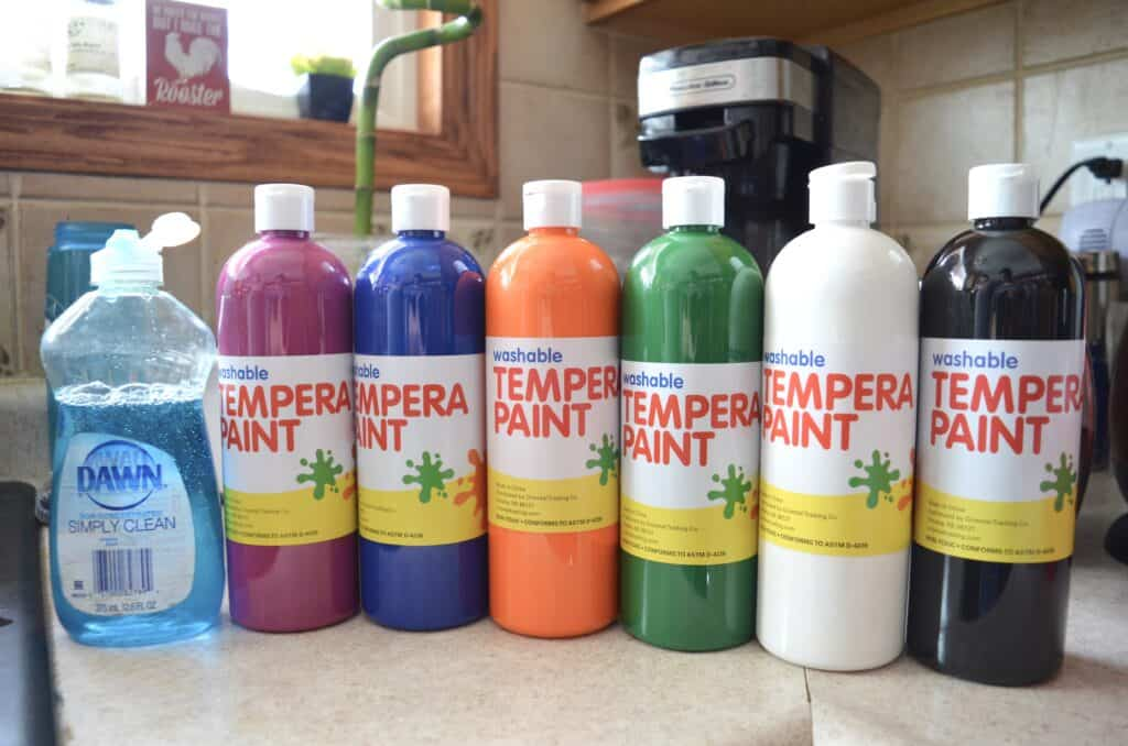 Dawn dish soap and washable paint