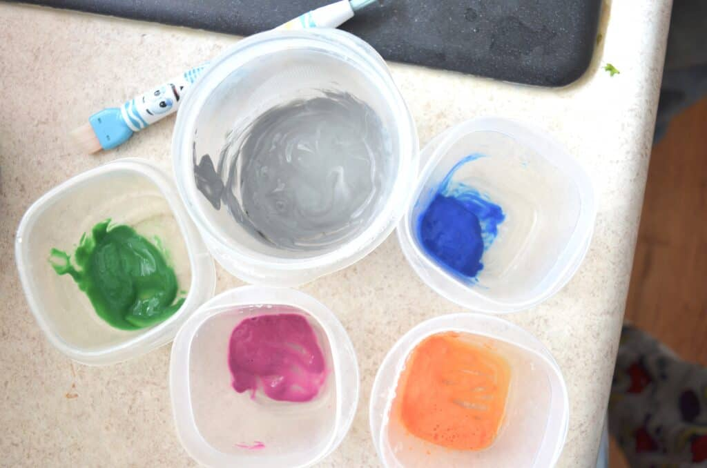 small containers of paint