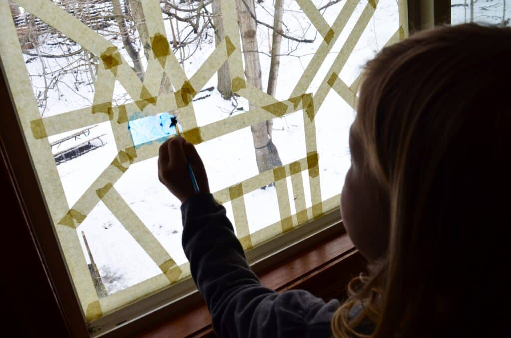 girl painting stained glass window art