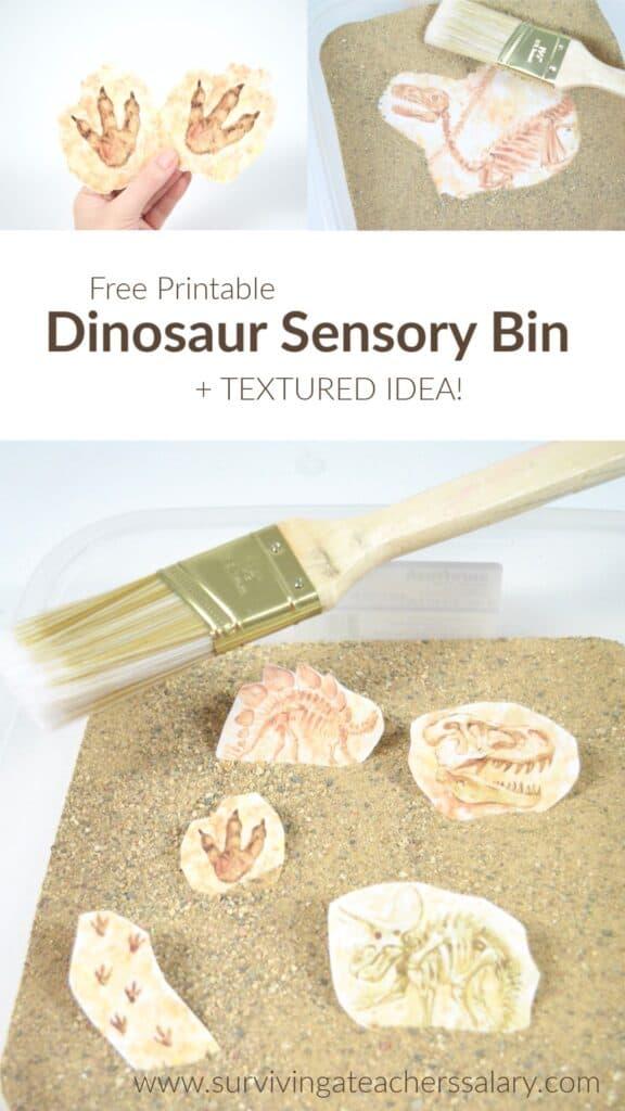 dinosaur sensory bin printables