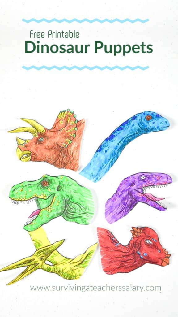 Printable Dinosaur Craft Stick Puppets Pretend Play Activity For Kids