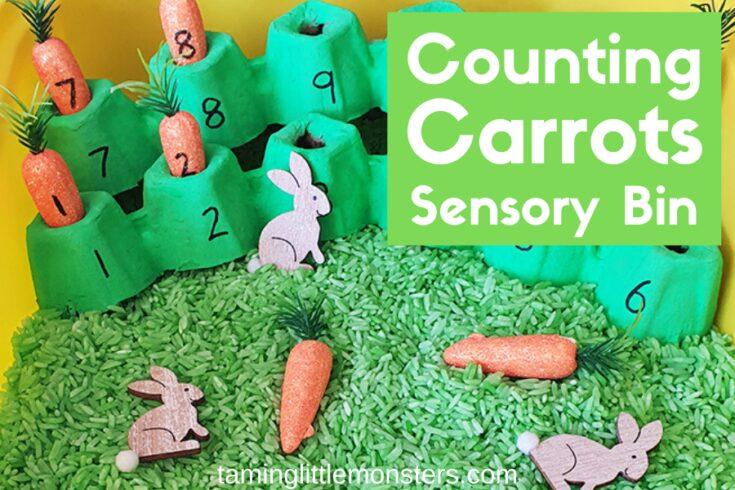 Counting Carrots Sensory Bin