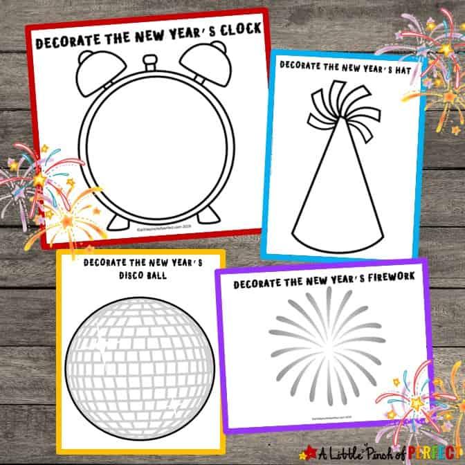 New Year's Kids Activity: Free Printable Playdough Mats -