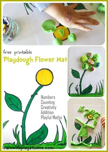 Playdough Flower Mat. Free Printable. Playful Maths.
