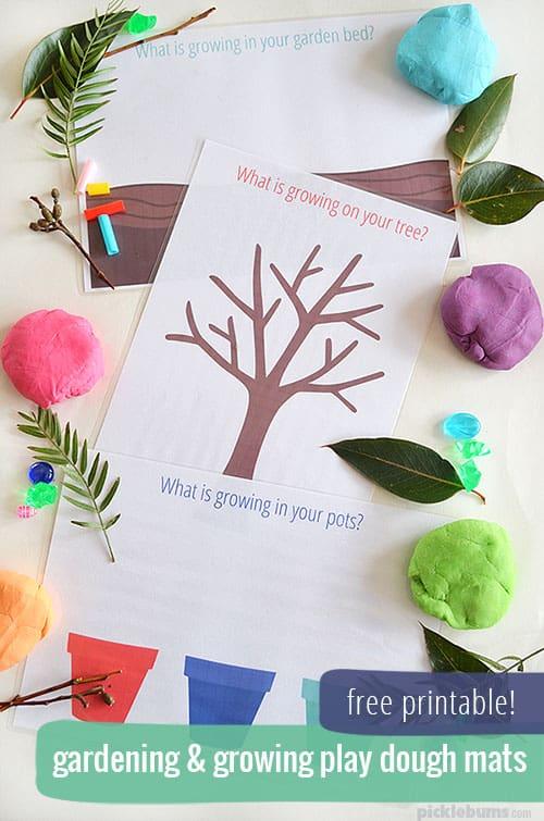 Gardening and Growing - Free Printable Garden Play Dough Mats