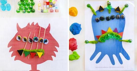 Monster Play Dough Mats - Free Printable