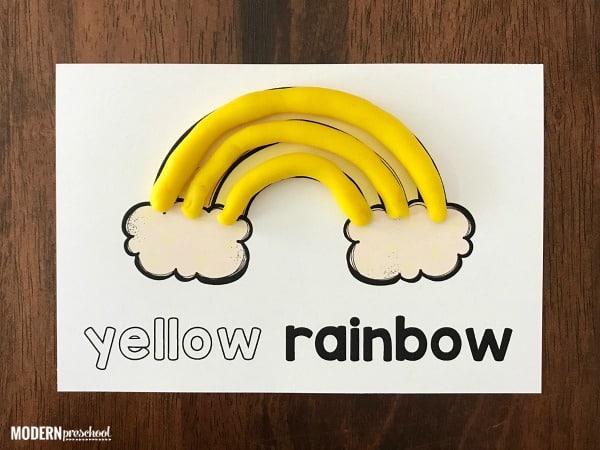 Rainbow Color Play Dough Mats