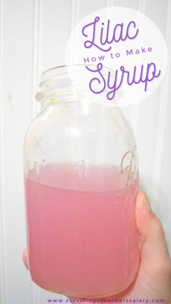 lilac syrup mason jar