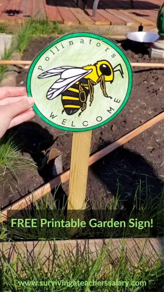 pollinator bee garden sign