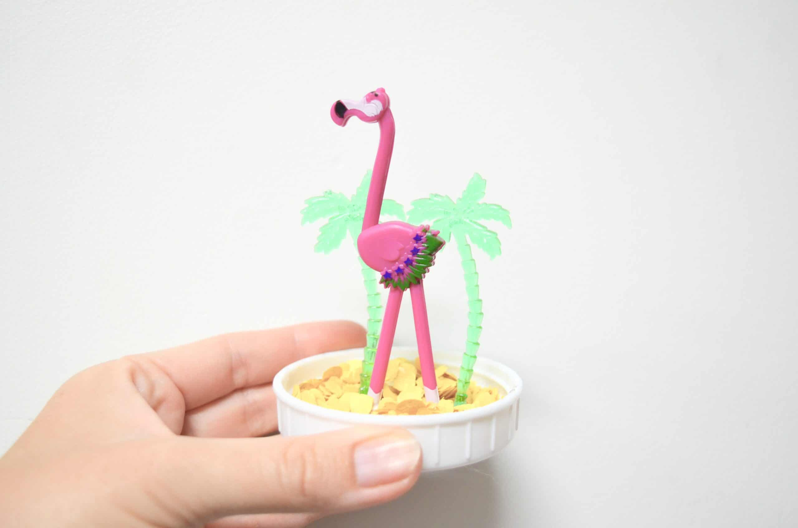 flamingo tropical sand globe