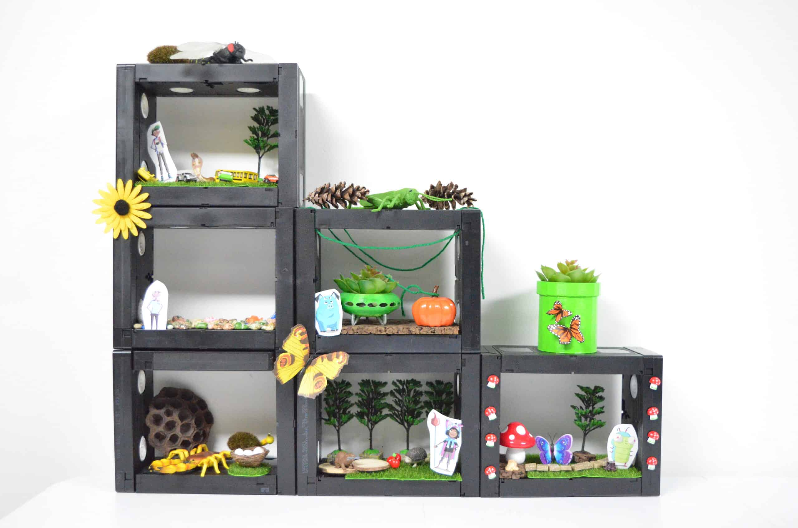 DIY VHS diorama play set shelf system