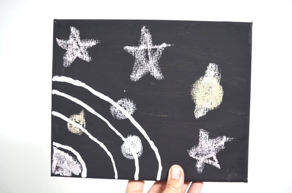 chalk space art on canvas