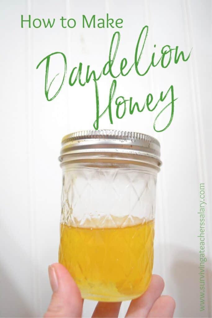 Wild Dandelion Honey in a mason jar