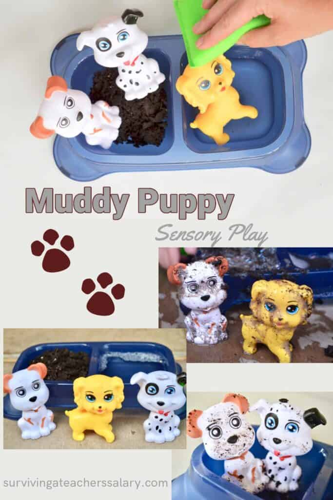 muddy puppy sensory play