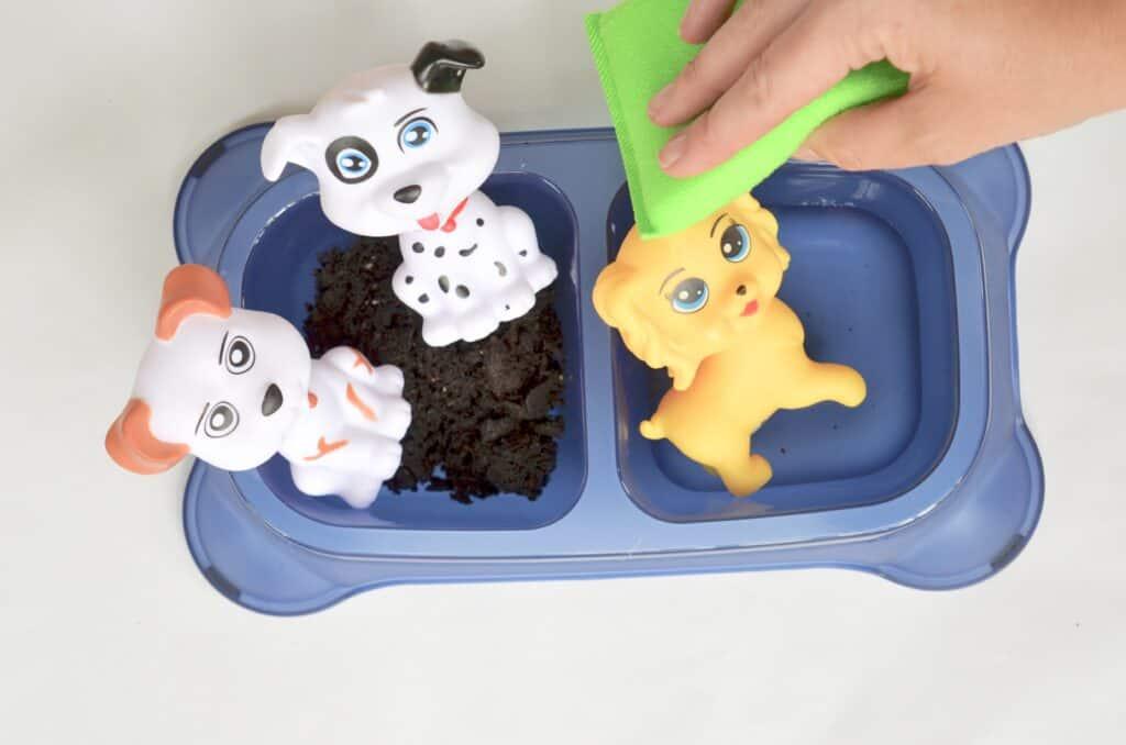 washing dirty dogs sensory play area