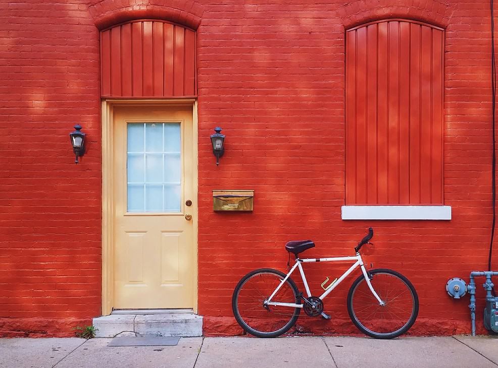 red wall with bike stock