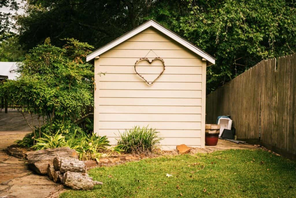 garden shed with heart decor stock