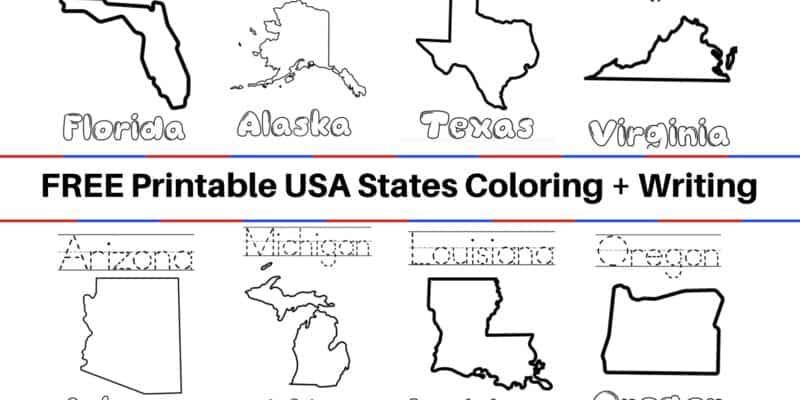 FREE United States Coloring Book and Writing Worksheets