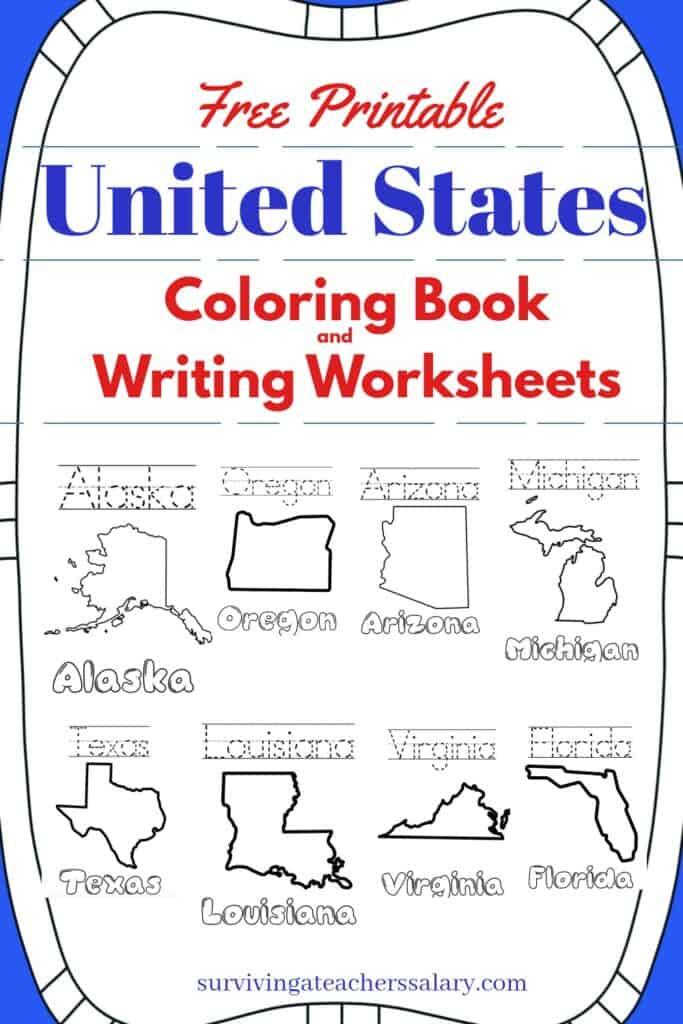 FREE United States Coloring Book And Writing Worksheets By State