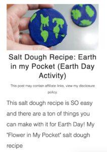 Earth Day salt dough activity