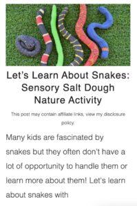 salt dough snakes activity