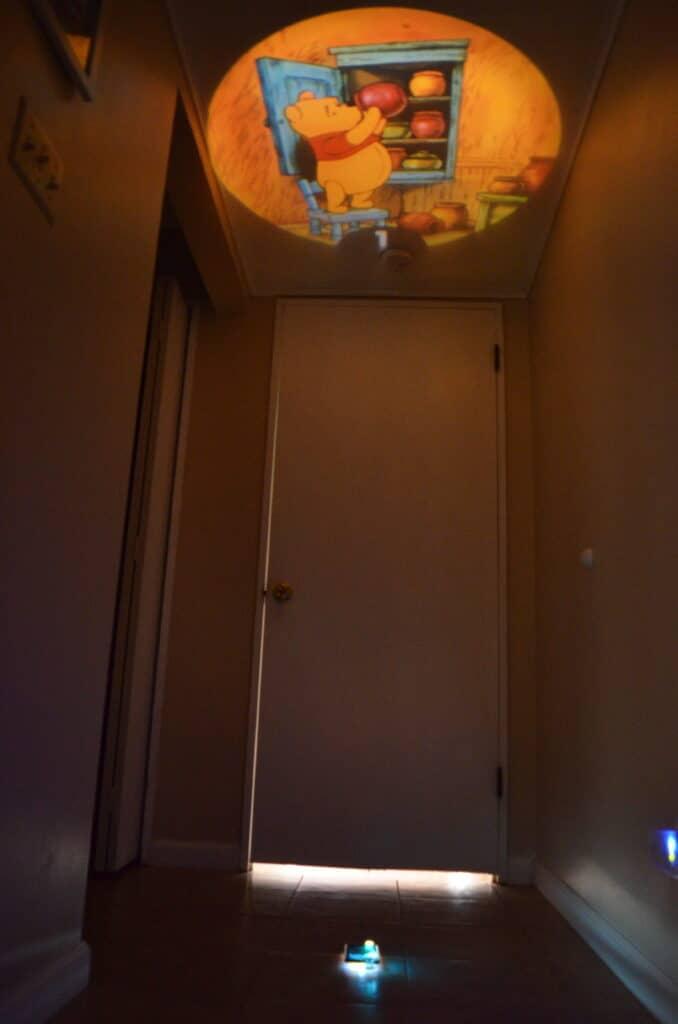 Winnie the Pooh story book reel on ceiling