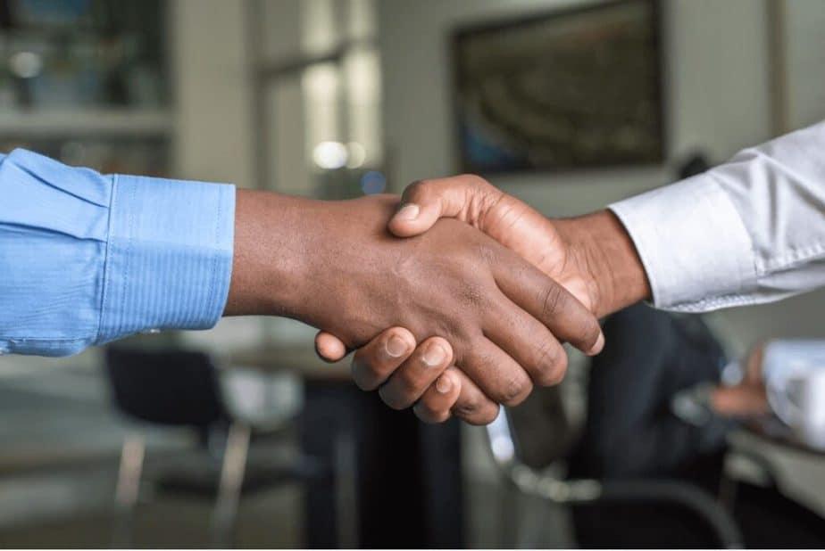 shaking hands job stock