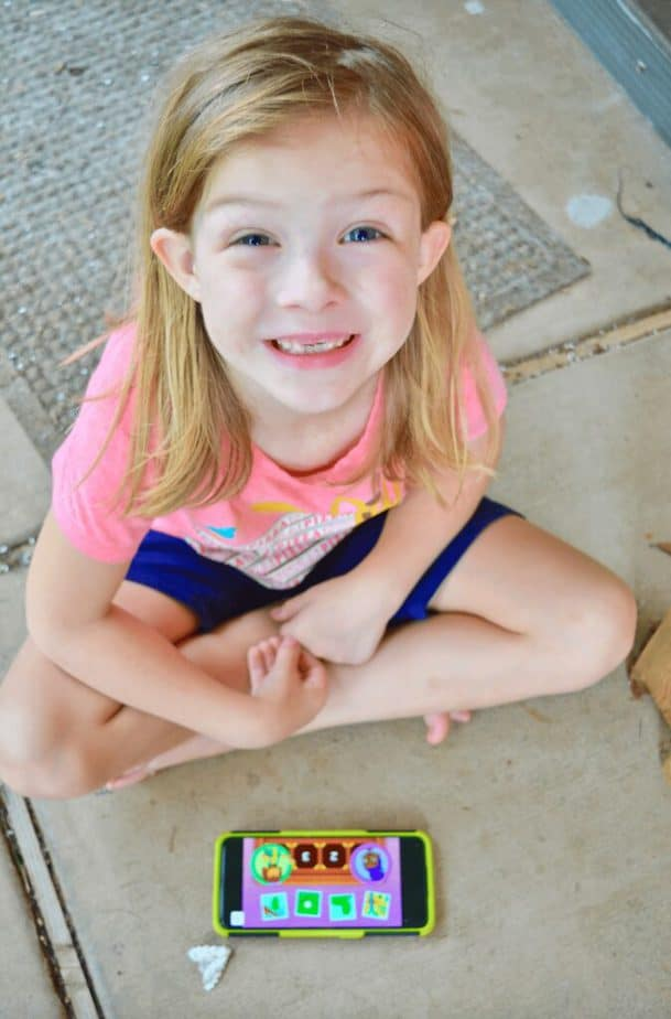 girl smiling with Noggin learning app
