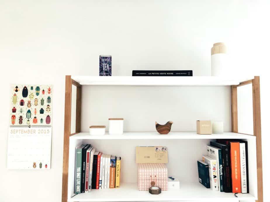 white shelves college dorm desk