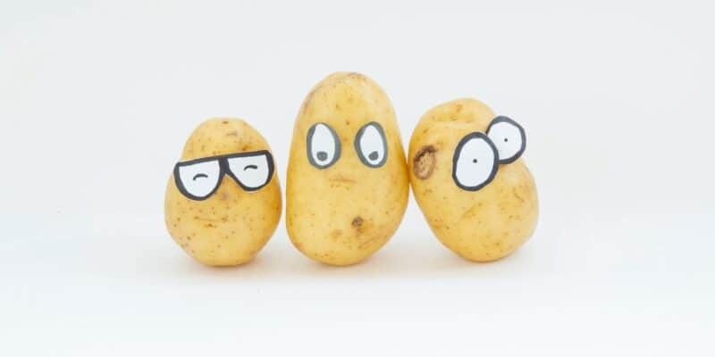 3 potatoes with googly eyes