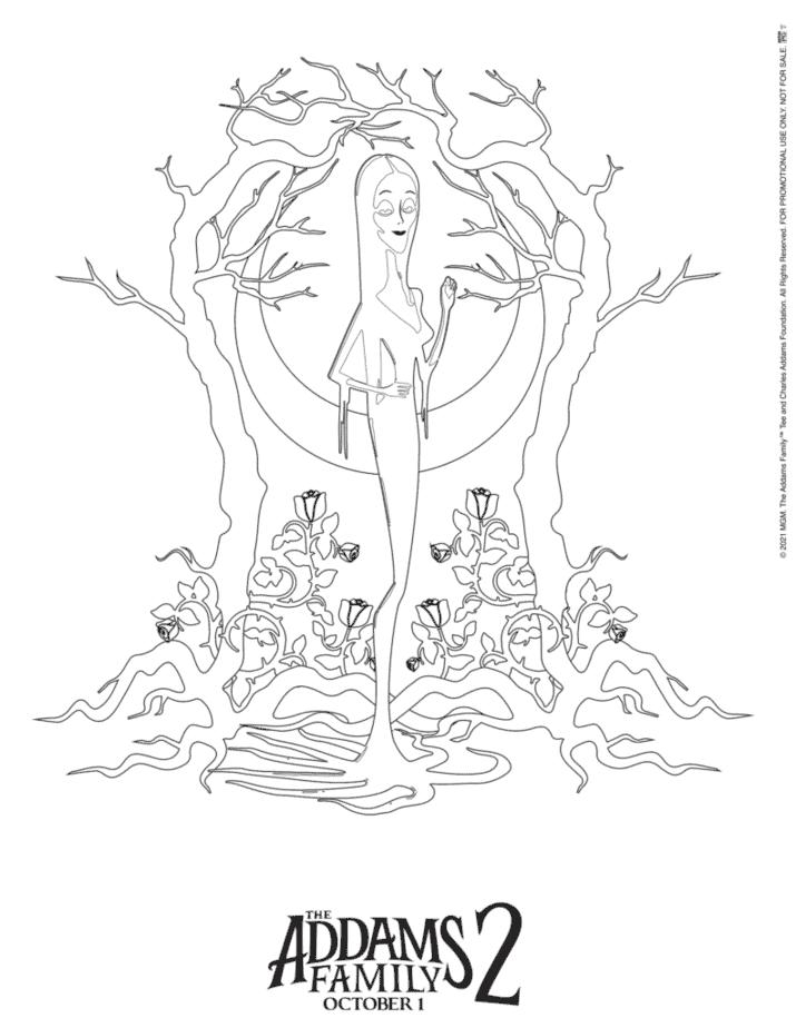 Morticia coloring page